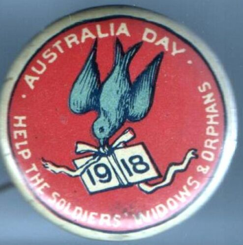 1918 pin WWI HOMEFRONT pinback AUSTRALIA Day Help SOLDIERS WIDOWS ORPHANS