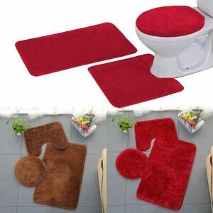 3-Piece-Bathroom-Rug-Set-Bath-Mat-Contour-Rug-Toilet-Lid-Cover-Brown-Red-US
