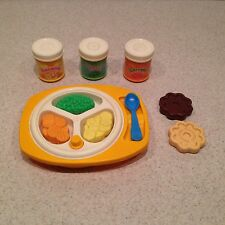 Vintage Fisher Price Fun With Food Baby Meal Playset Dish & Spoon & Cookies