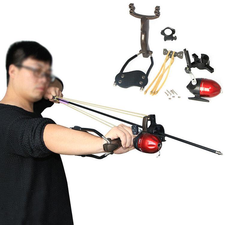 Hunting Fishing Slingshot Set Target Shooting Catapult Ammo Ball Sling Bow Reel