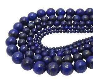 Lapislazuli-Kugeln-4-6-8-amp-10-mm-Edelstein-Perlen-Strang-Lapis-Lazuli