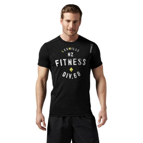 Men/'s Les Mills Poly Cotton Tee Black Slim Training Sports T-Shirt Gym Running