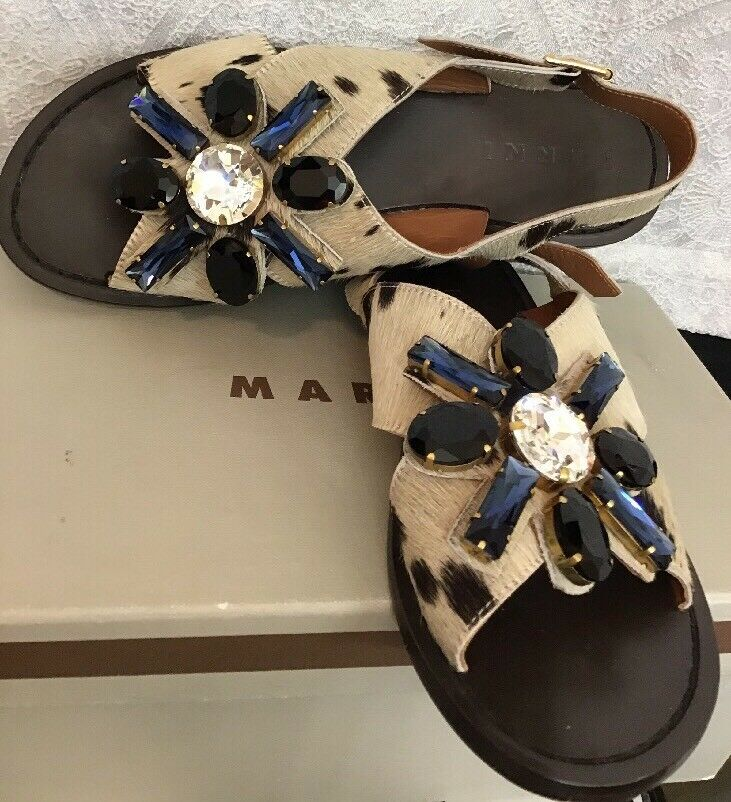 Marni shoes Black And Bone Cap Hair Huge Rhinestone Flower Sandal Size 38 1 2
