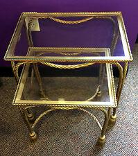 Pair Vtg Italy Hollywood Regency Gold Gilt Metal Rope Tassel Nesting Side Tables
