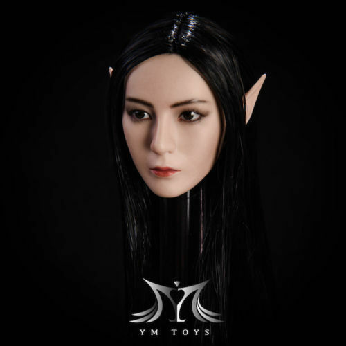 1//6 YMtoys YMT09B Black Hair Elf Girl Head Model W Detachable Ears F Suntan Doll