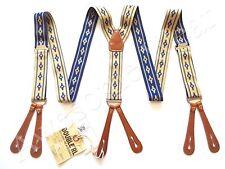 New Ralph Lauren RRL Indigo Blue & Cream Elastic & Leather Suspenders Braces