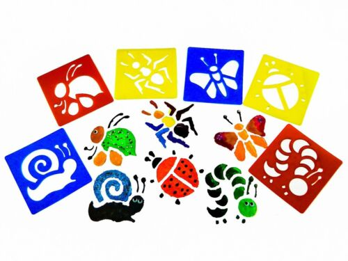 Pack of 6 Funnuy 5 Type Art Stencils Templates Set for Kids Drawing Plastic #NE8