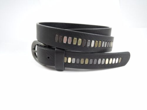 """Womens Ladies Girls Studded Black Faux Leather Belt 30/"""" To 34/"""" Inch"""