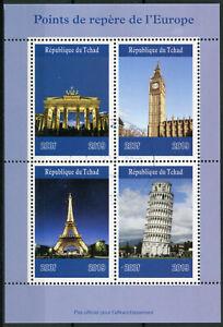 Chad-2019-CTO-Hitos-Torre-Eiffel-Big-Ben-Puerta-de-Brandemburgo-4v-m-s-Sellos