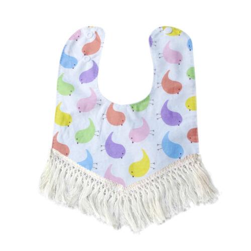 Cotton Baby Newborn Infant Kids Toddler Tassel Waterproof Bibs Saliva Towel E