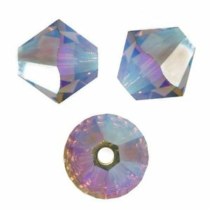 LIGHT TOPAZ AB2X 15 Perles Toupies 4mm Cristal Swarovski