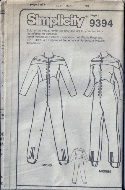 Star Trek Next Generation Costume Sewing Pattern Adult 34 to 44 ...