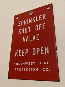Vintage-Porcelain-Enamel-Sign-SPRINKLER-SHUT-OFF-VALVE-Southwest-Fire