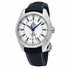Omega Seamaster Aqua Terra 150 Co Axial White Dial GMT Mens Watch 23192432204001