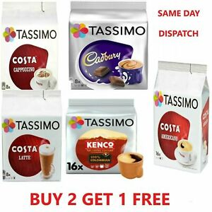 TASSIMO COFFEE PODS T-DISCS, COFFEE & HOT CHOCOLATE CAPSULES BUY 2 GET 1 FREE