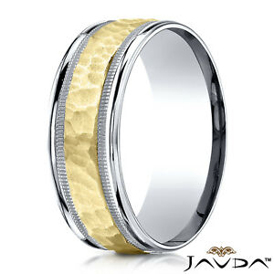 Image Is Loading 14k Two Tone Gold Men 039 S Hammered