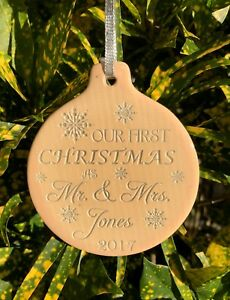 our first christmas mr mrs ceramic personalized ornament wedding