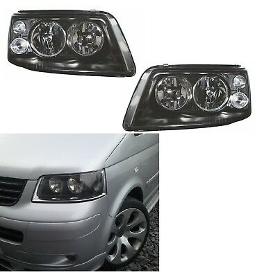 VW T5 PHARES AVANT NOIR CLAIRE 03-10 DEUX PHARES EN NOIR DROIT ET GAUCHE NOUVEAU