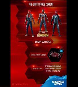 Details about PS4 Spider-Man Pre-Order Bonus - Spidey Suit Pack, Drone,  Avatar & Theme DLC