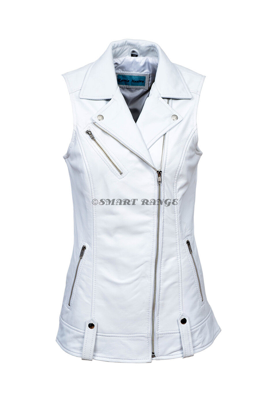 Ladies Leather Waistcoat White Motorcycle Biker Style Steam Punk REAL NAPA 6385