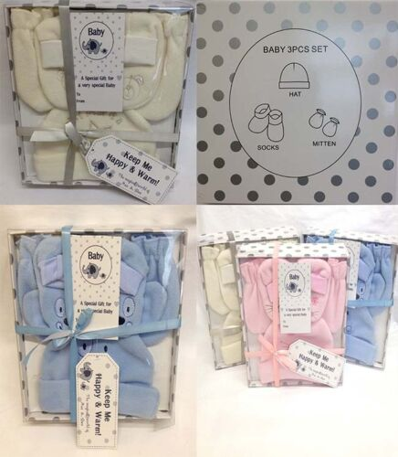 New 3 PC Baby Boy Girl Christening Gift Set Outfit  Hat Mitts 0-12 Month