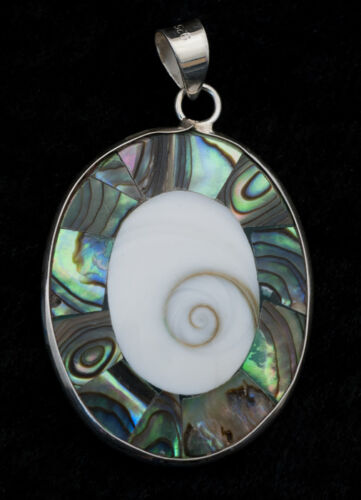 Pendentif Oeil de Shiva Sainte Lucie-nacre-bijoux en Argent   925-W52-10149