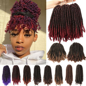 Pre Twisted Curly Spring Twist Braids Crochet Hair Extensions Short As Human Us Ebay