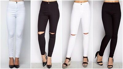 UnabhäNgig New Womens Celeb High Waist Plain Ripped Knee Stretch Skinny Slim Fit Tube Jeans Rheuma Lindern
