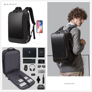 BANGE Men's Black Backpack15.6 inch Laptop for Work Business  Concise Style
