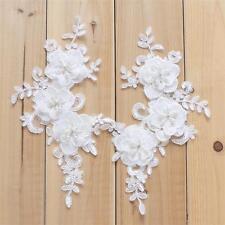 Pearl Con Perline Applique floreale in pizzo da sposa taglio ricamo cucito su Motif 1 Paio