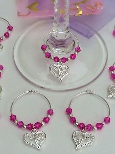 Image Is Loading 20 Hot Pink Crystal Wedding Wine Gl Charms