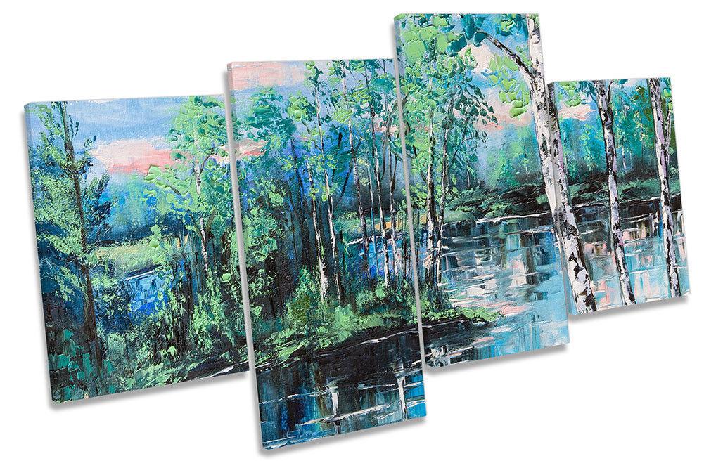 Blau Lake Landscape Repro MULTI CANVAS WALL ARTWORK Print Art