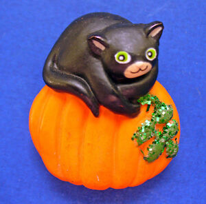 Fun-World-PIN-Halloween-Vintage-CAT-Black-GLITTER-PUMPKIN-Holiday-Brooch