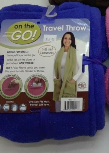 travel fleece soft throw scarf with pockets blue pink brown  BNWT NEW on the go