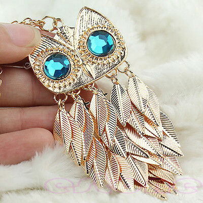 Women Stylish Golden Leaves Tassel Owl Style Charm Pendant Necklace Long Chain