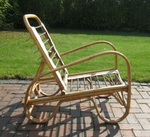 Vintage ANGRAVES Albini Bamboo Cane Chair Adjustable Back Position With Cushions
