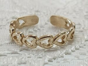 Genuine-9kt-Yellow-Gold-Solid-Cut-Out-Heart-Design-Adjustable-Toe-Ring-1-5-Gram