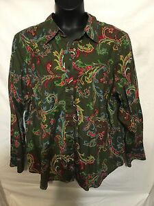 TOMMY-HILFIGER-Plus-Size-Woman-22-Olive-Green-Button-Shirt-Awesome-Colors-Design