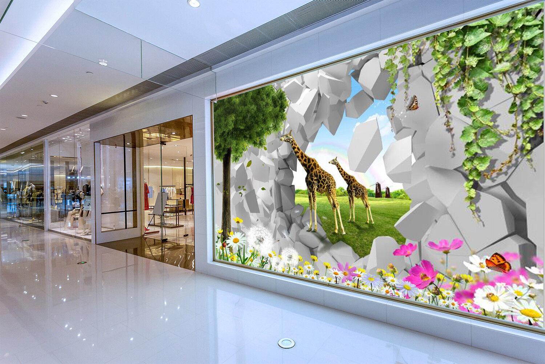 3D Garden Giraffes 7 Wall Paper Murals Wall Print Wall Wallpaper Mural AU Summer
