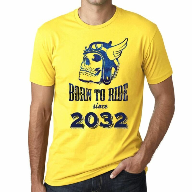 2032 Born To Ride Since 2032 Mens T-shirt Yellow Birthday Gift 00496-show Original Title