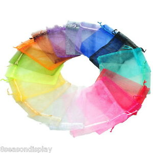 100PCs-10x15cm-Mixed-Colors-Organza-Jewelry-Gift-Present-X-mas-Pouch-Bags