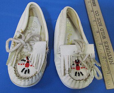 Vintage blanco Minnetonka mocasines talla 7 12