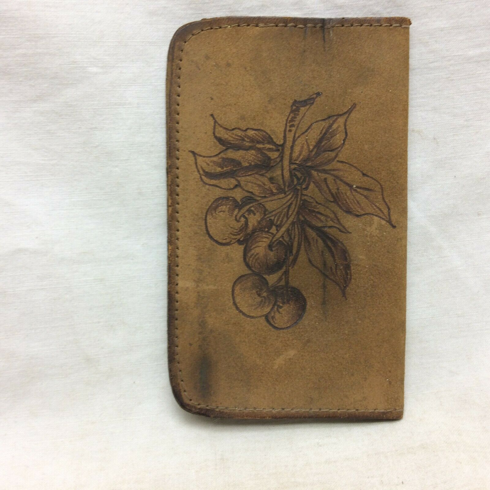 Vintage Leather Card Holder Cherry Design Unisex Style