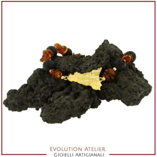 Silber Armband 925/% Lava die Vulkan Etna und Bernstein Natürlich Sizilien