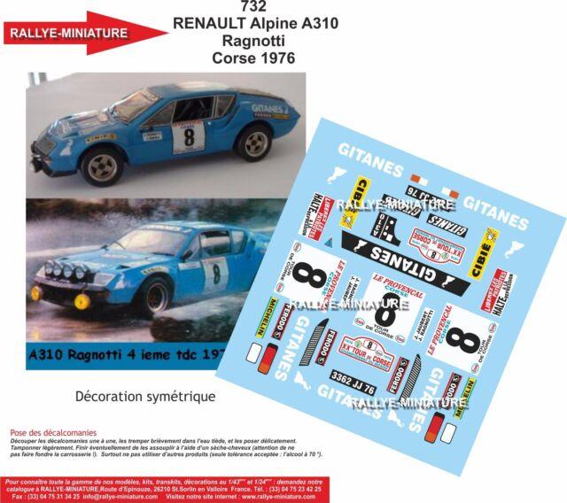 DECALS 1//32 REF 800 ALPINE RENAULT A110 MANZAGOL TOUR DE CORSE 1978 RALLYE RALLY