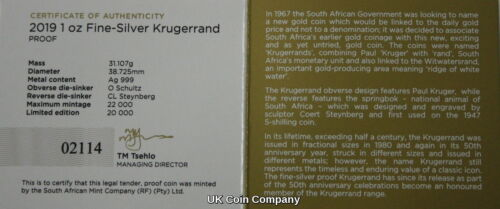 2019 South Africa Fine Silver Proof Krugerrand Coin Boxed Certificate New Issue