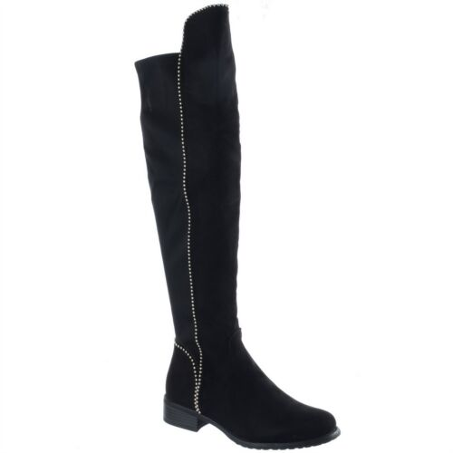 Ladies Flat Thigh High Over The Knee Low Heel Boots Womens Studded Stretch Size