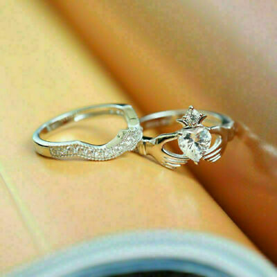 Details about  /2.00 Ct Heart Cut Diamond Crown Claddagh Bridal Ring Set 14k White Gold Finish