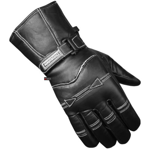 Premium Men Sheep Leather Gauntlet Winter Motorcycle Biker Gloves Black