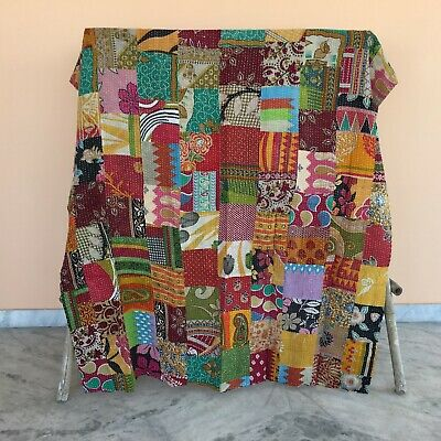 Indian Kantha Quilt Bedding Coverlet Gudari Patchwork Reversible Bedspread Throw